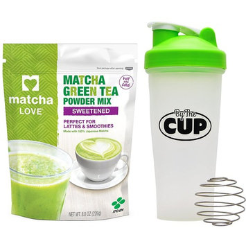 Matcha Love - 100% Japanese Matcha Green Tea Sweetened Powder Mix, 8 Ounce Bag - with By The Cup Shaker