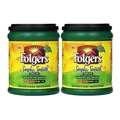 Fresh Taste of Folgers Coffee, Simply Smooth Decaf, Gentle on Your Stomach, 11.5 Oz Canister - (2 pk)