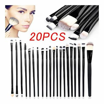 Cosmetic Soft Eyebrow Shadow Makeup Brush Set Kit +Pouch Case (20PC Black)