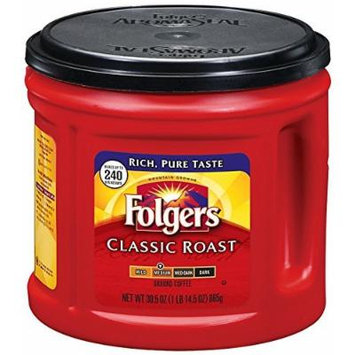 Folgers Classic Roast Ground Coffee, Medium Roast, 30.5 Ounce (2 Pack)