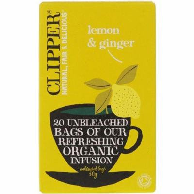 (12 PACK) - Clipper - Organic Lemon & Ginger | 20 Bag | 12 PACK BUNDLE