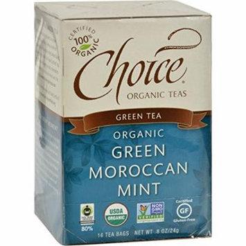 Choice Organic Teas Green Moroccan Mint Tea - 16 Tea Bags - Case of 6 - 95%+ Organic -