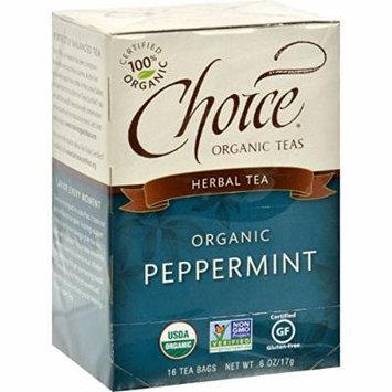 Choice Organic Teas Peppermint Herb Tea - 16 Tea Bags - Case of 6 - 95%+ Organic -