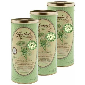 Heather's Tummy Tea Fennel Tea Bags BULK KIT for Irritable Bowel Syndrome ~ Heather's Tummy Teas Organic Fennel Teabags (3 Cans, 135 Jumbo Teabags) by Heather's Tummy Care