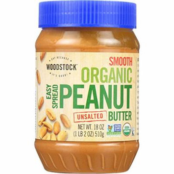 Woodstock Nut - Organic Peanut Butter - Easy Spread - Smooth - Unsalted - 18 oz - case of 12 - 95%+ Organic