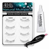 Ardell Fake Eyelashes Value Pack - Natural Multipack Babies (Black), LashGrip Strip Adhesive, Dual Lash Applicator - Everything You Need For Perfect False Eyelashes by Ardell