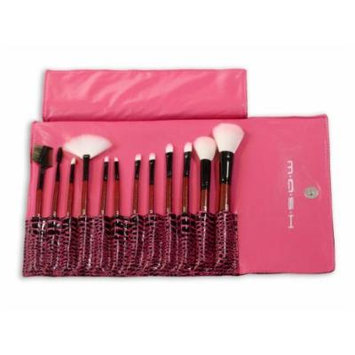 MASH 12pc Studio Pro Makeup Make Up Cosmetic Brush Set Kit w/ Leather Case - For Eye Shadow, Blush, Concealer, Etc (Pink) by MASH by MASH