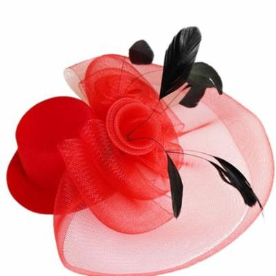 Coxeer Women Girls Bridal Feather Net and Veil Fascinator Hair Clip Derby Headpiece for Party (Red)