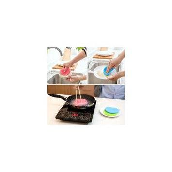 Jeobest 2PCS Dish Washing Sponge - Silicone Dish Washing Sponge Scrubber Kitchen Cleaning antibacterial Tool Clean MZ(pink)