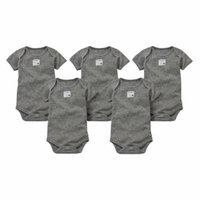 Organic Solid Short Sleeve Bodysuits, 9M, Heather Grey, 5 Ct