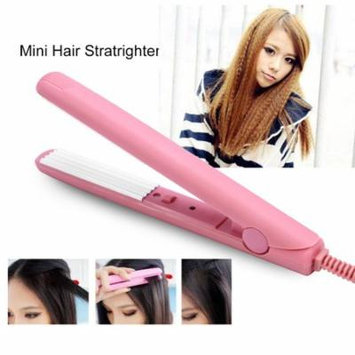 Mini Pink Ceramic Tourmaline Hair Straightener Iron Curler Hair Styling Tools for Travel