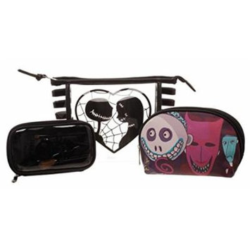 Nightmare Before Christmas 3 Pc Cosmetic Toiletry, Make Up Bag & Brush Gift Set