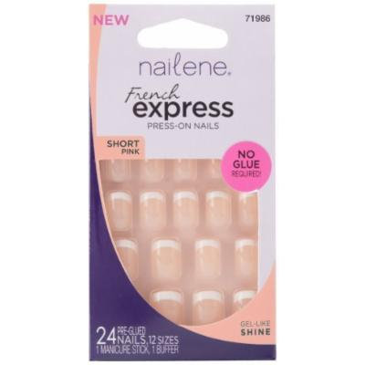 Nailene French Express Ready to Wear Nails Short Pink Fuzzy by Nailene
