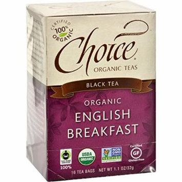 Choice Organic Teas English Breakfast Tea - 16 Tea Bags - Case of 6 - 95%+ Organic -