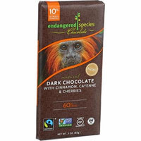 Endangered Species Natural Chocolate Bars - Dark Chocolate - 60 Percent Cocoa - Cinnamon Cayenne and Cherries - 3 oz Bars - Case of 12 - Gluten Free - Yeast Free-Wheat Free-