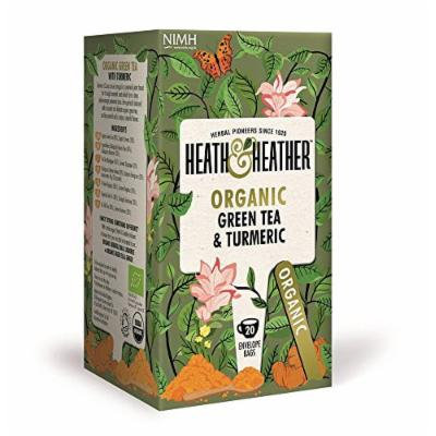Heat & Heather Organic Green Tea & Turmeric 20 Bags (Pack of 6)