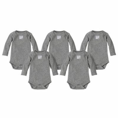 Organic Solid Long Sleeve Bodysuits, 3M, Heather Grey, 5 Ct