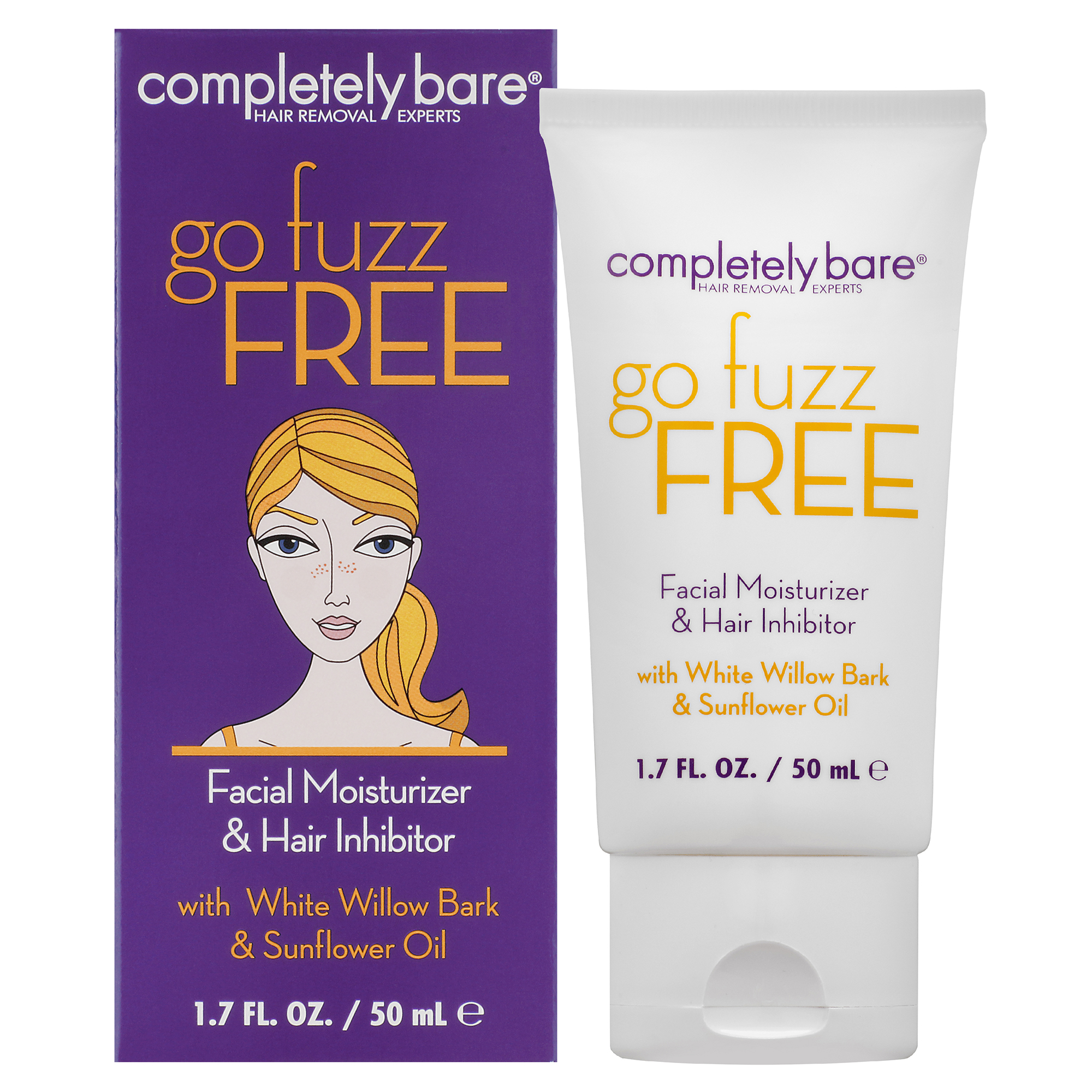 Completely Bare Facial Moisturizer & Hair Inhibitor Go Fuzz Free