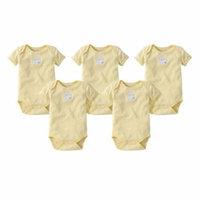 Organic Short Sleeve Bodysuits - Sunshine - 9M - 5 Ct