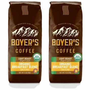 Boyer's Coffee Organic Breakfast Blend, Ground Coffee, Light Roast, 2-Pack (1.5lb)