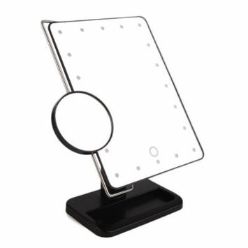 Hot Sale 340 Degree Rotation MR-L208 20 LED Tabletop Mirror + Stainless Steel Magnifier(Black)