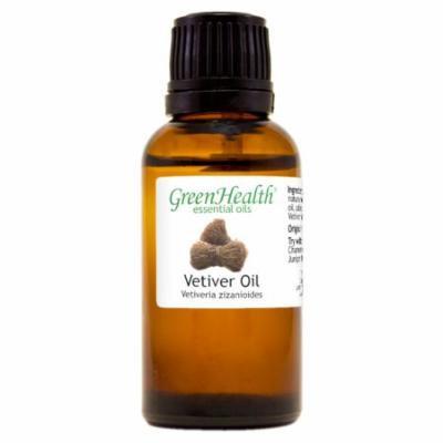 Vetiver Essential Oil - 1 fl oz (30 ml) Glass Bottle w/ Euro Dropper - 100% Pure Essential Oil by GreenHealth
