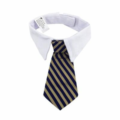 Pets Dog Cat Neckties with White Collar Puppy Adjustable Collar Tie for Wedding Party Accessories - Size S (Yellow & Blue Stripes)