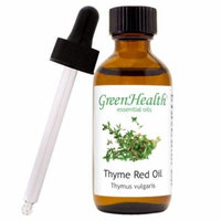 Thyme Red Essential Oil - 2 fl oz (59 ml) Glass Bottle w/ Cap and Glass Dropper - 100% Pure Essential Oil by GreenHealth