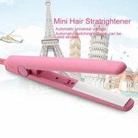 Pink Ceramic Mini Tourmaline Hair Straightener Iron Curler Hair Styling Tools for Travel