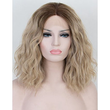 Persephone Ombre Blonde Lace Front Wig Glueless Short Wavy Wigs Bob with Dark Roots Middle Part Light Blonde Synthetic Wigs for women