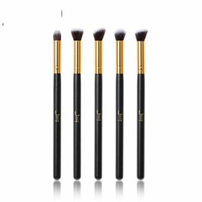 5pcs Makeup brushes sets Black/Gold Wood handle beauty Professional Cosmetic Precision Tapered Flat Angled Make up kits
