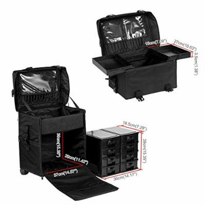 2 in 1 Rolling Makeup Trolley Cosmetic Case Beauty Artist Bag Storage Organizer