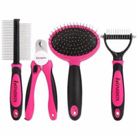 Homdox 4pcs/Dog Grooming Kit-Best Combing,Nail trimming,and Brush cleaning from pet toes.Home Supplies Tool Set for pet dogs