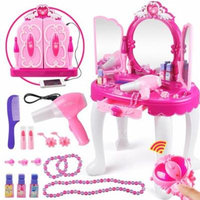 Qiilu Girls Make Up Dressing Table Glamorous Princess Dressing Table with Stool, Mirror, Hair Dryer, Pink Make-Up Table Toy Makeup Accessories Girls Gift
