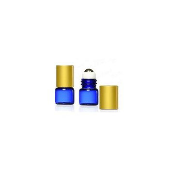Grand Parfums 1 ml,1/4 Dram Cobalt Blue Glass Micro Mini 1ml Roll-on Glass Bottles with Metal Roller Balls & Metal Gold Caps. - Refillable Aromatherapy Essential Oil Roll On (72)