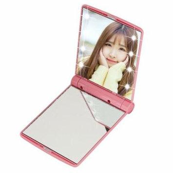 Makeup Cosmetic Folding Portable Compact Pocket Mirror 8 LED Lights
