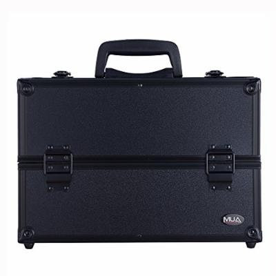 Professional Makeup Artist Cosmetic Train Case w/ Extendable Trays (Black)