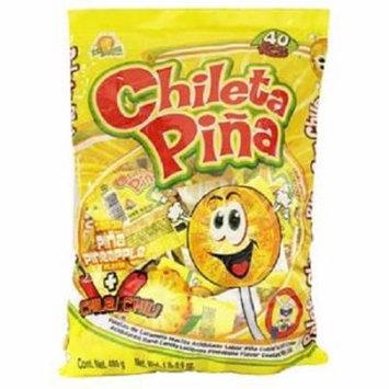 Product Of El Azteca, Chileta Lollipops Pina W/Chili - Bag, Count 40 - Sugar Candy / Grab Varieties & Flavors