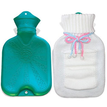 UFEELGOOD Classic Hot Water Bottle, Premium Natural Medical Grade Rubber Bag with Knitted Cover - 1L White