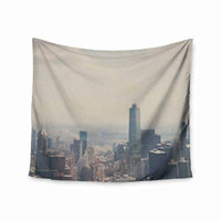 KESS InHouse Laura Evans Chicago from above Blue Multicolor Photography Wall Tapestry