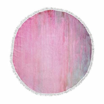 KESS InHouse Iris Lehnhardt Color Wash Pink Blush Paint Round Beach Towel Blanket