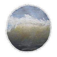 KESS InHouse Carol Schiffthe Curl Blue Brown Painting Round Beach Towel Blanket