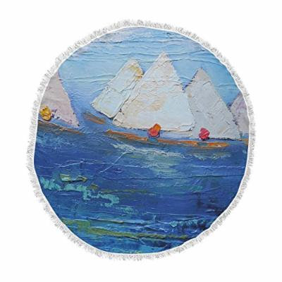 KESS InHouse Carol Schiff Swirls Blue Red Round Beach Towel Blanket
