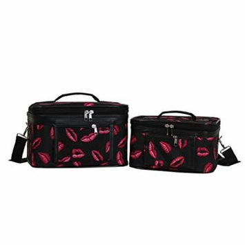 World Traveler Women's 2-Piece Cosmetic Case Set, Hot Lips