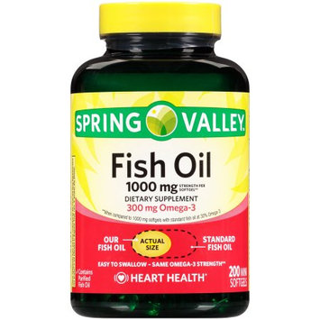 Wal-mart Stores, Inc. Spring Valleyâ ¢ Fish Oil 1000mg Dietary Supplement 200 Mini Softgels Bottle