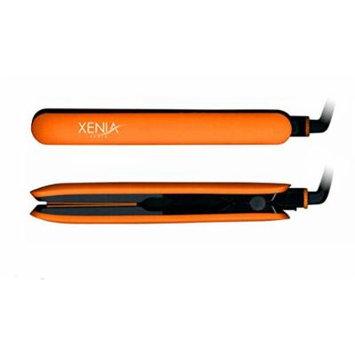 Xenia Paris Fairytale Bliss 1 Inch Silicone Grip Hair Straightening Flat Iron (Orange)