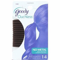 Goody Ouchless Extra Thick Elastics, Brown, 4mm - 2 Pack of 14 Count = 28 Count