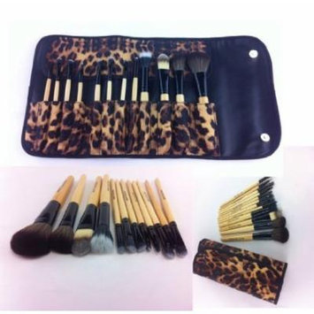 12 Pcs PRO Makeup Brush Set (African Leopard) leather case. Eyebrow Pencil Lip Liner & Goat Brushes, Bamboo Handle...