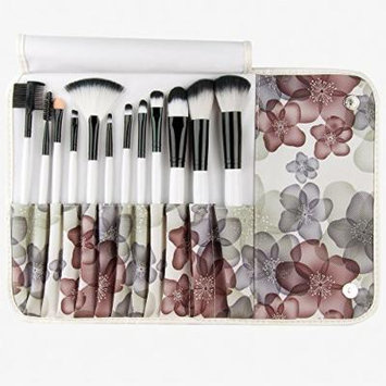 Lychee Pro Wooden Handle Beautiful 12pcs Makeup Brushes Cosmetic Soft Make Up Brush Set Kit with Floral Style Pouch Bag Case by Lychee