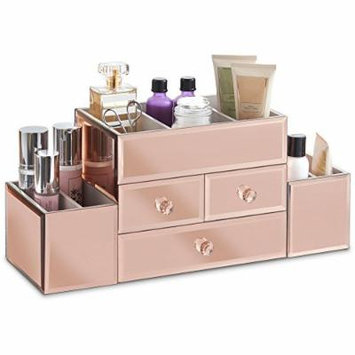 Beautify Large Mirrored Rose Gold Glass Jewelry Box & Cosmetic Makeup Organizer with 3 Drawers and 9 Sections
